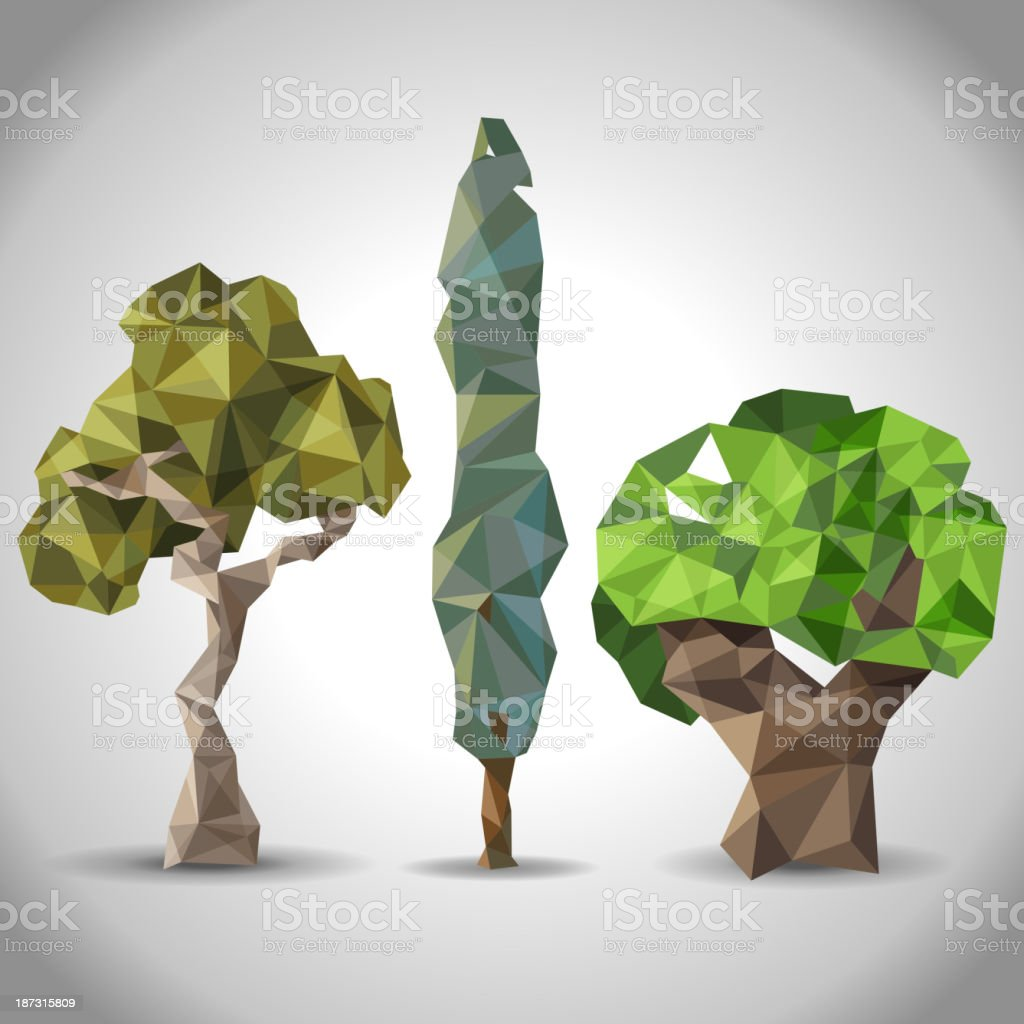 trees in origami style royalty-free stock vector art