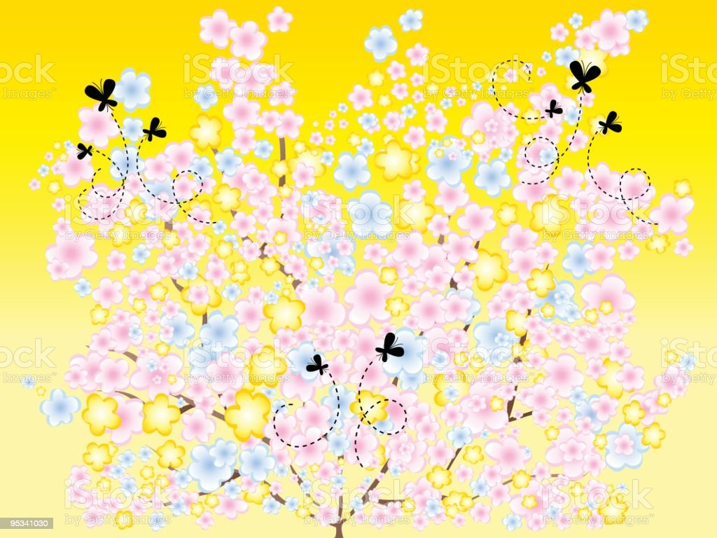 Trees in Spring royalty-free stock vector art