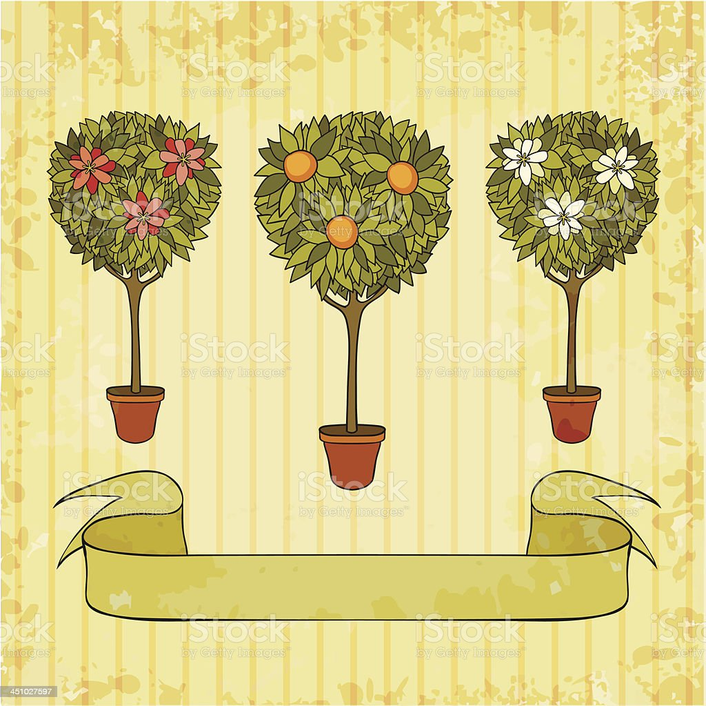 trees in the pot vector art illustration