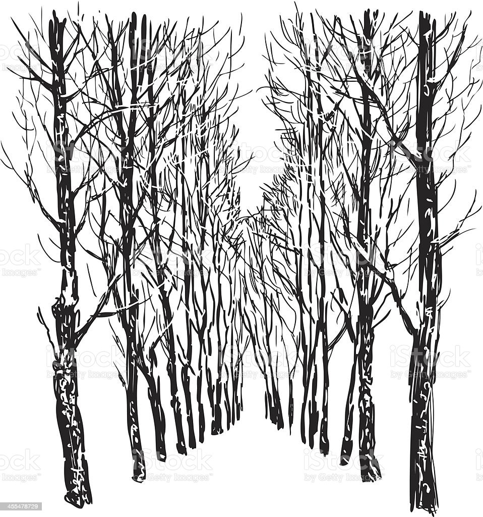 Trees in winter park royalty-free stock vector art