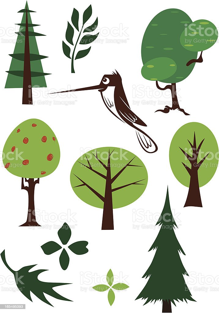 Trees, Leaves, and Hummingbird royalty-free stock vector art