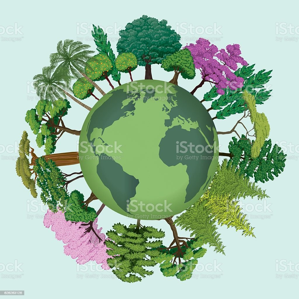 Trees Of The Planet Earth vector art illustration