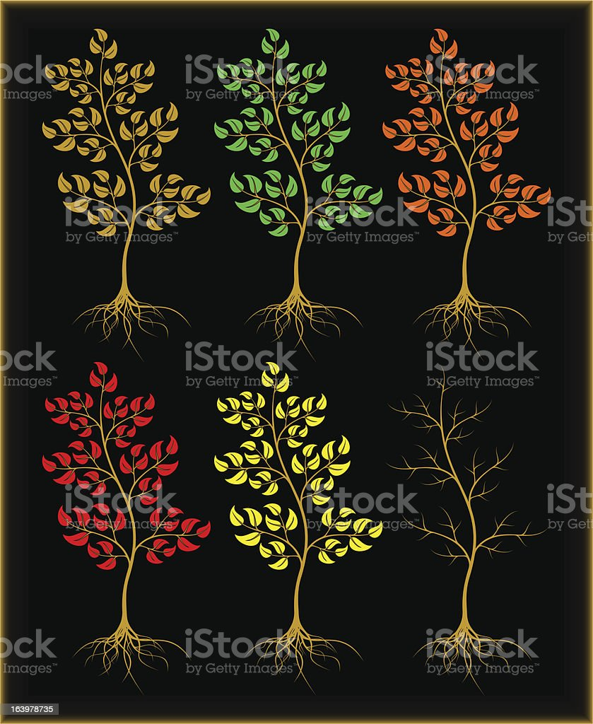 Trees on a black background. royalty-free stock vector art
