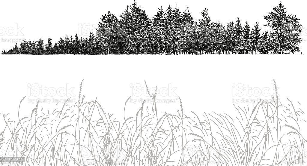Trees on Horizon vector art illustration