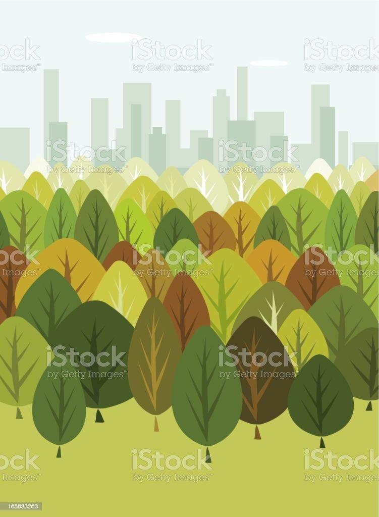 Trees providing oxygen to New York vector art illustration