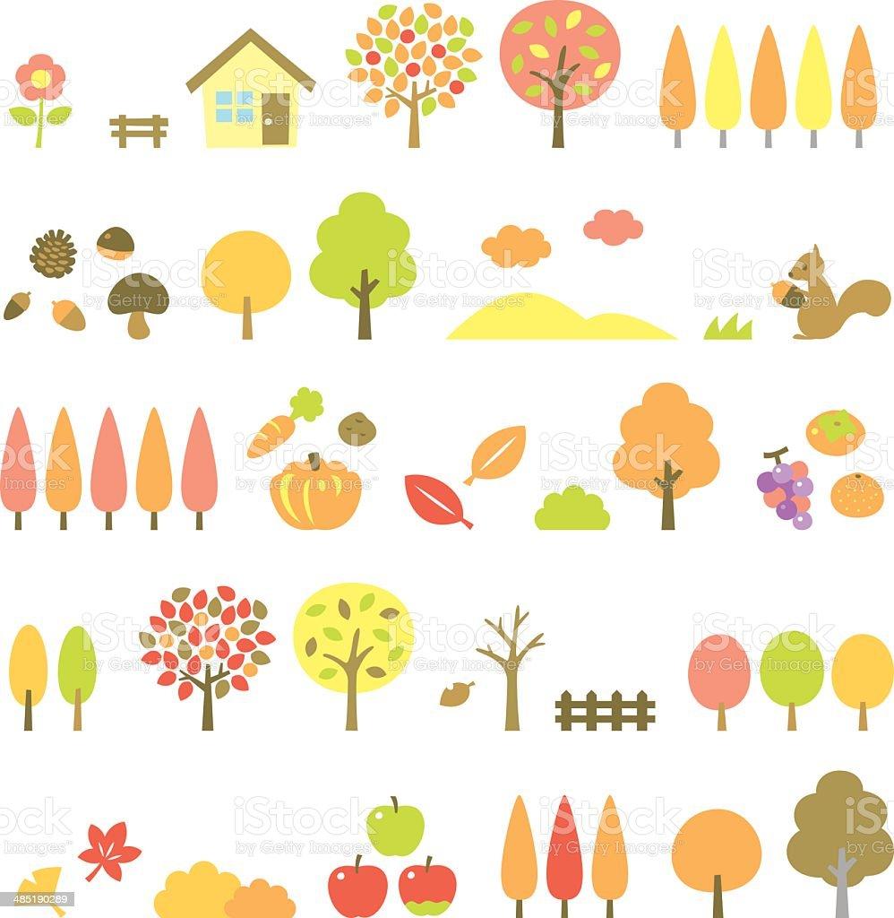 trees set, autumn vector art illustration