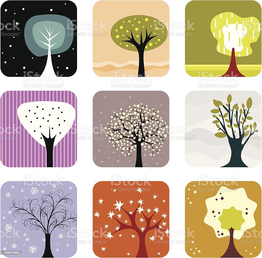 Trees set royalty-free stock vector art