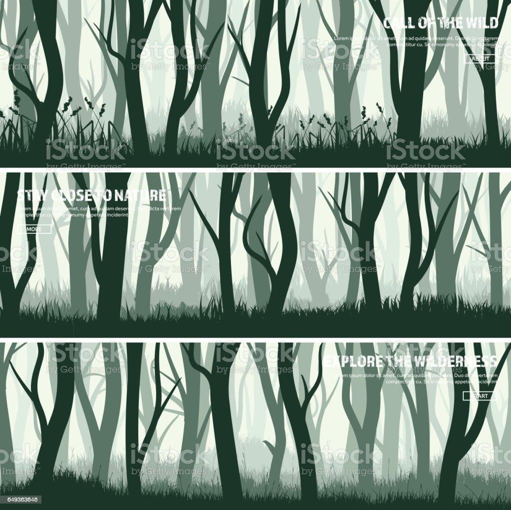 Trees set. Wild pine forest, nature background. Wood.Vector illustration.Banner. Dark green tree. Landscape.Grass,meadow vector art illustration