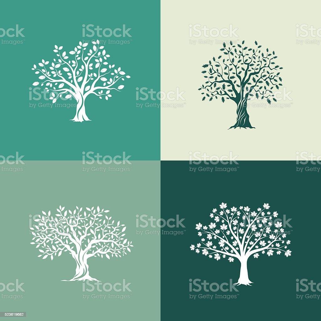 trees silhouette set vector art illustration
