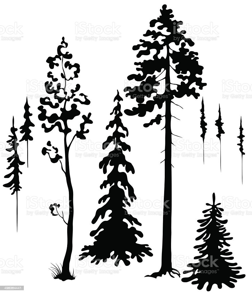 Trees silhouettes vector art illustration