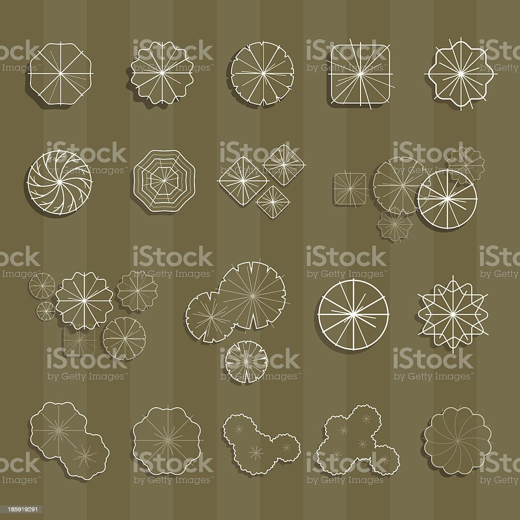 Trees top view outline and shadow for landscape vector illustration royalty-free stock vector art
