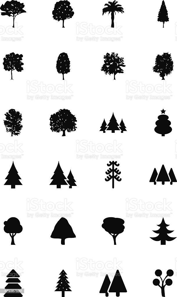Trees Vector Icons 1 vector art illustration