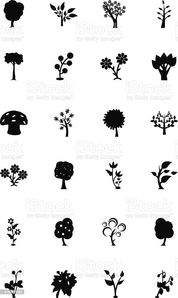 Trees Vector Icons 3 vector art illustration