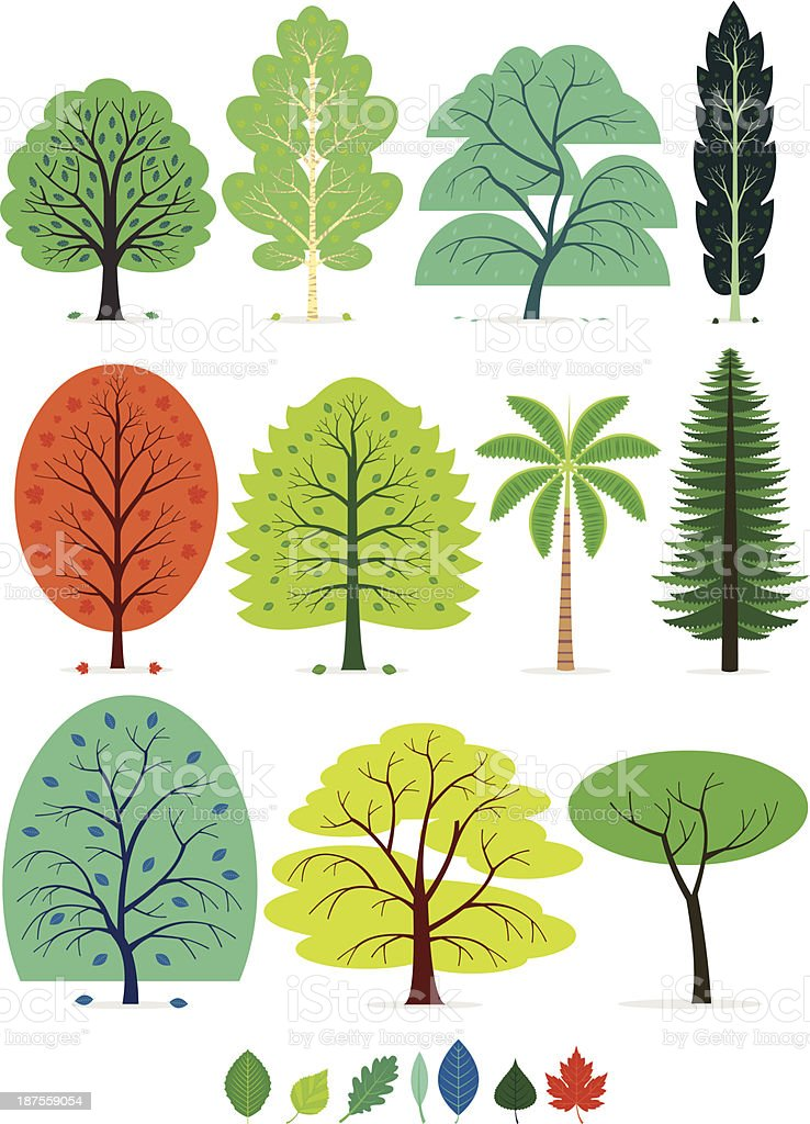 Trees vector art illustration