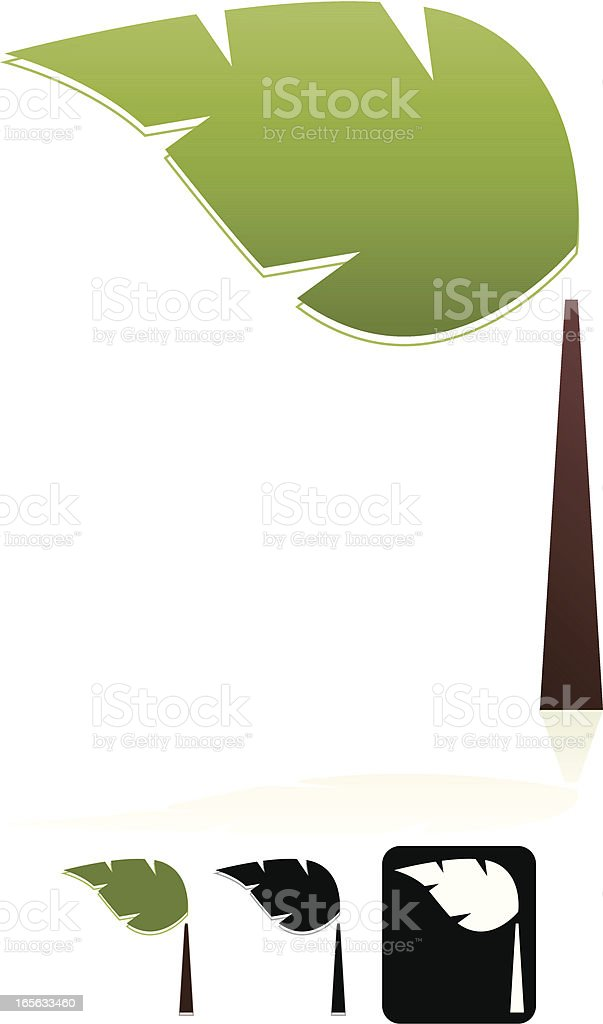 Bäume mit einem Blatt-Design-Element Emblem Set Lizenzfreies vektor illustration
