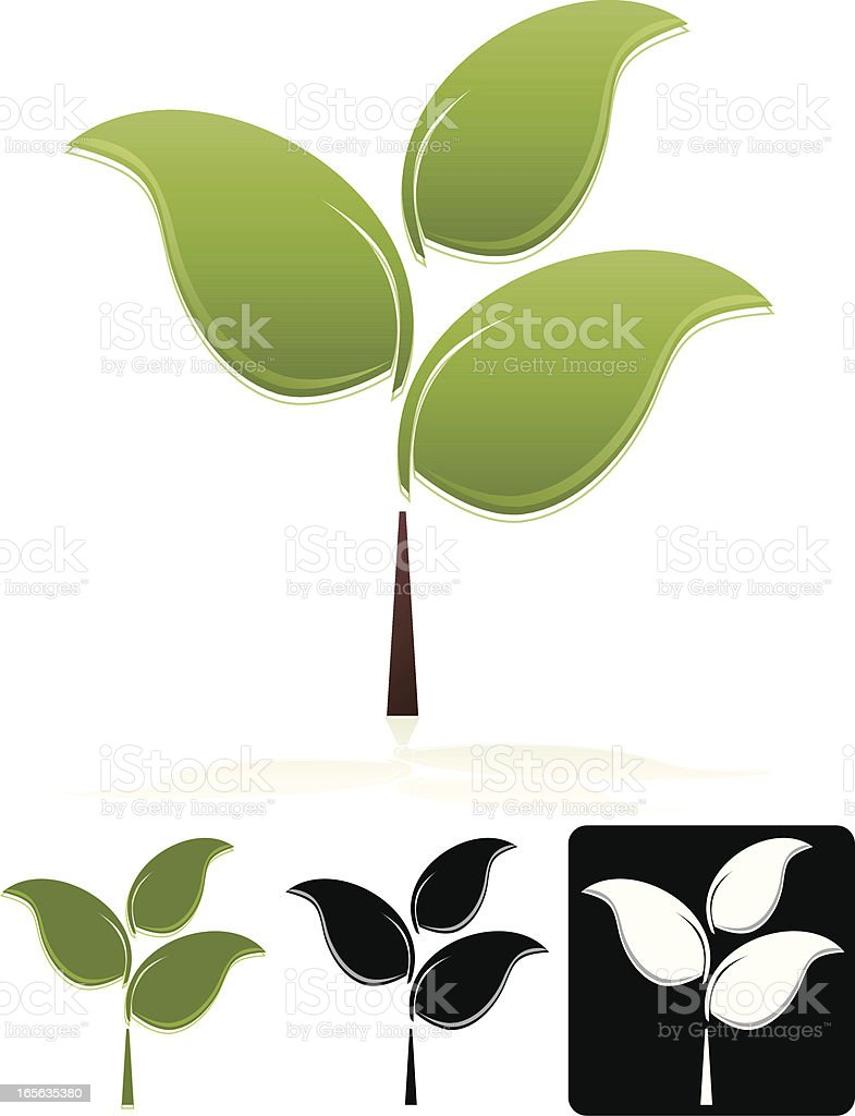Trees with Three Leaves Design Element, Emblem Set royalty-free stock vector art