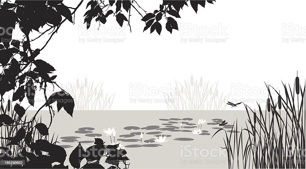Trees'n Pond Vector Silhouette royalty-free stock vector art