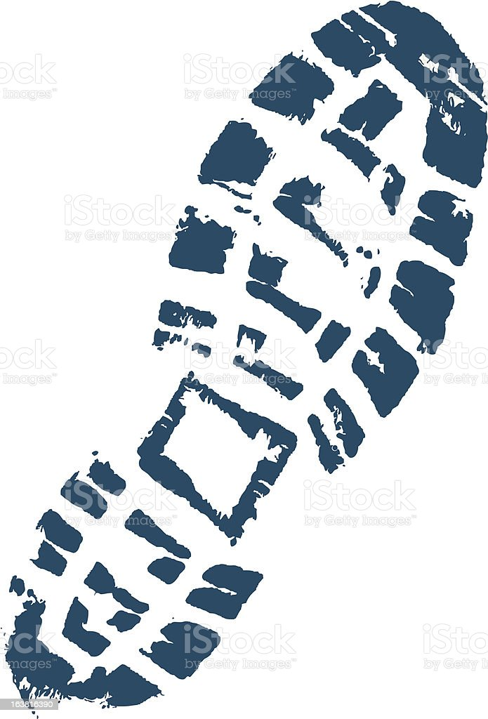 Trekkers boot print. vector art illustration