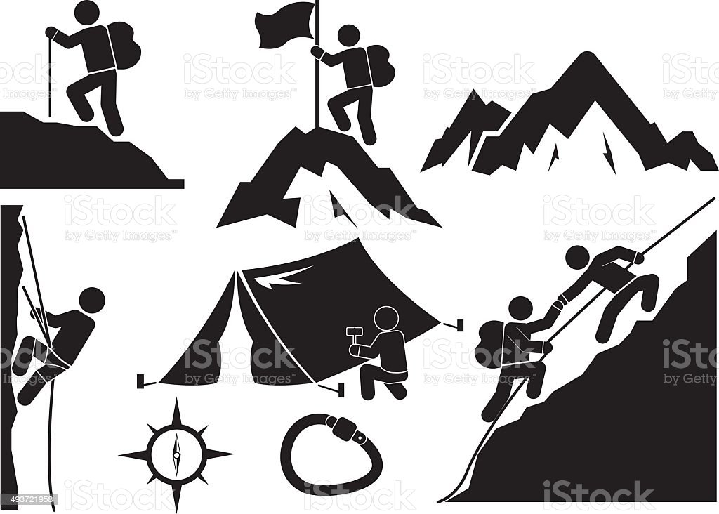 trekking vector art illustration