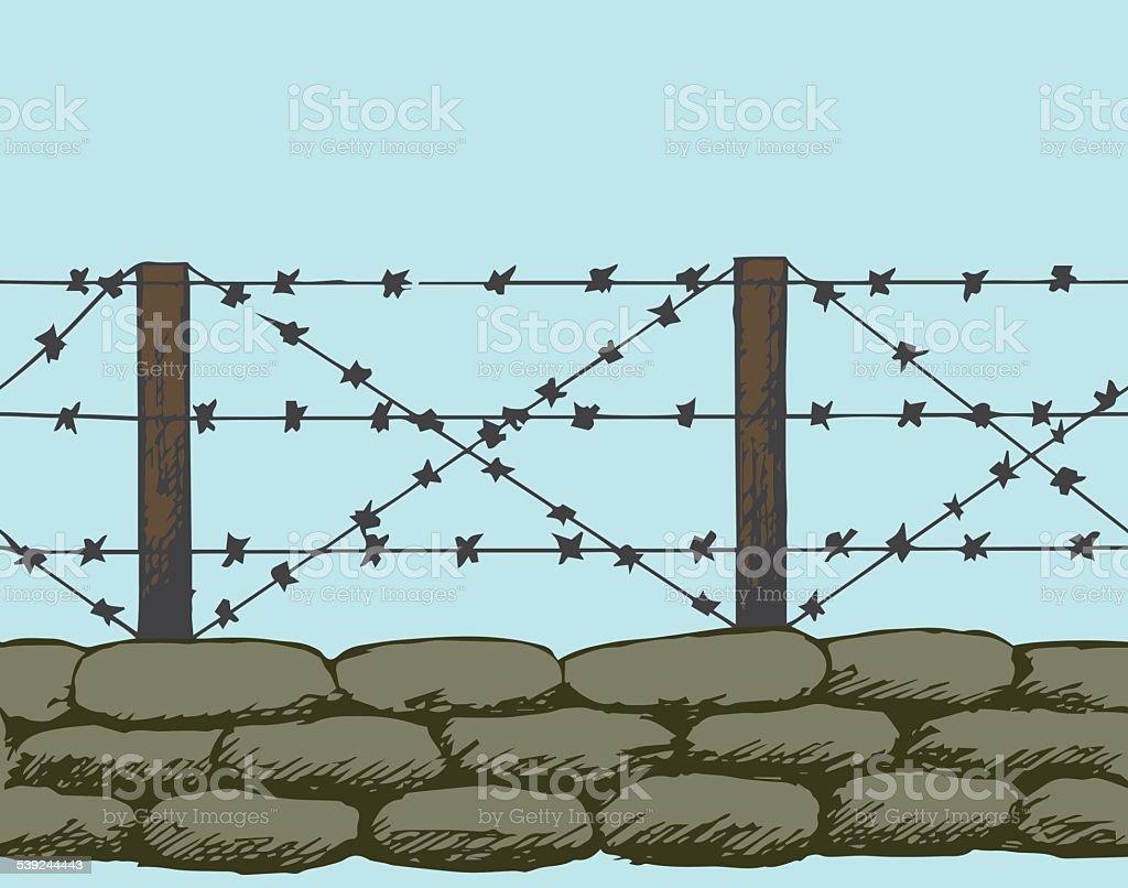 Trenches of world war one sandbags vector art illustration