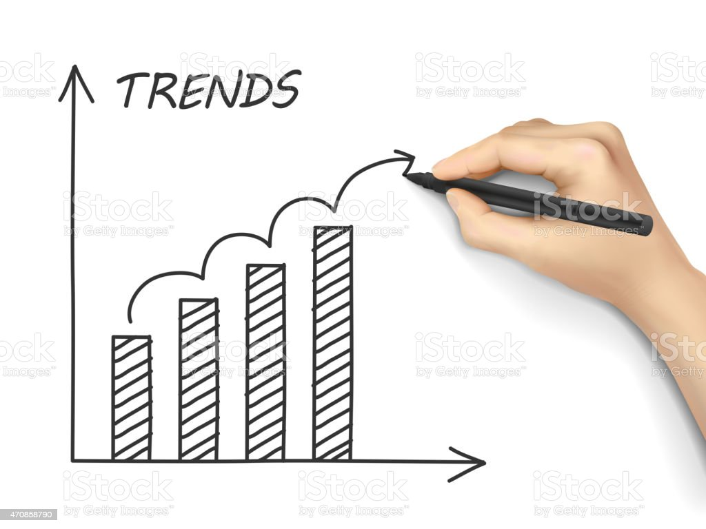 trends growth graph drawn by hand vector art illustration