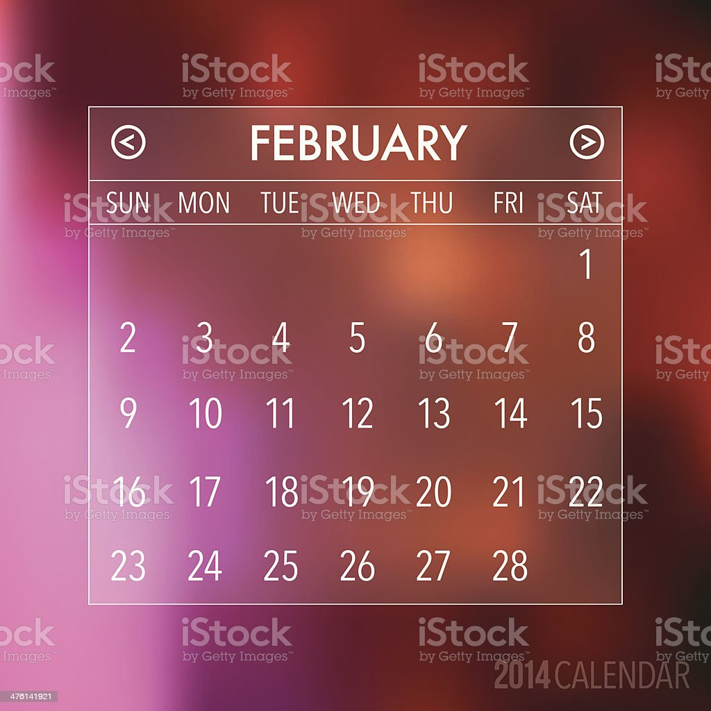 Trendy Abstract Blurry 2014 Hipster Calendar royalty-free stock vector art