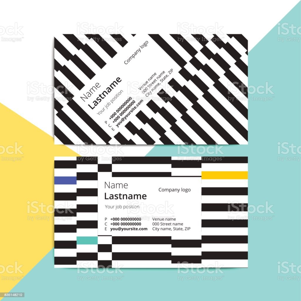 Trendy abstract business card templates. Modern corporate stationary id layout with geometric stripes pattern. Vector fashion background design with information sample text. vector art illustration