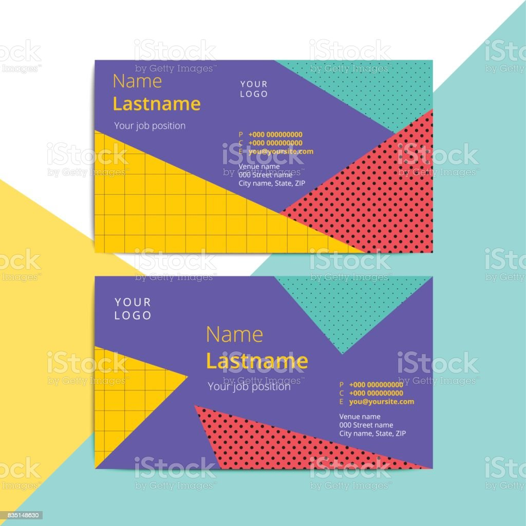 Trendy abstract business card templates. Modern corporate stationary id layout with geometric retro style pattern. Vector fashion background design with information sample text. vector art illustration