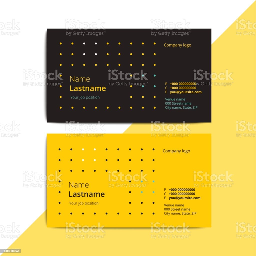 Trendy abstract business card templates. Modern corporate stationary id layout with geometric lines pattern. Vector fashion background design with information sample text. vector art illustration