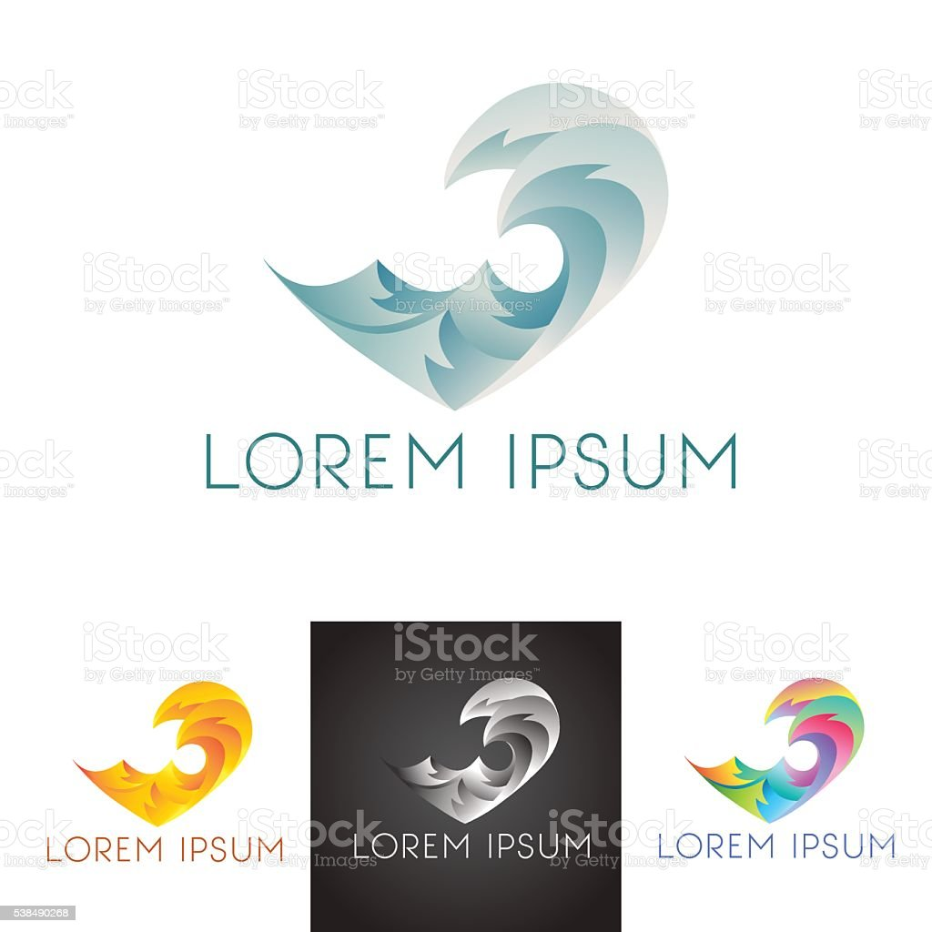 Trendy and modern sign for company heart gradient waves vector art illustration