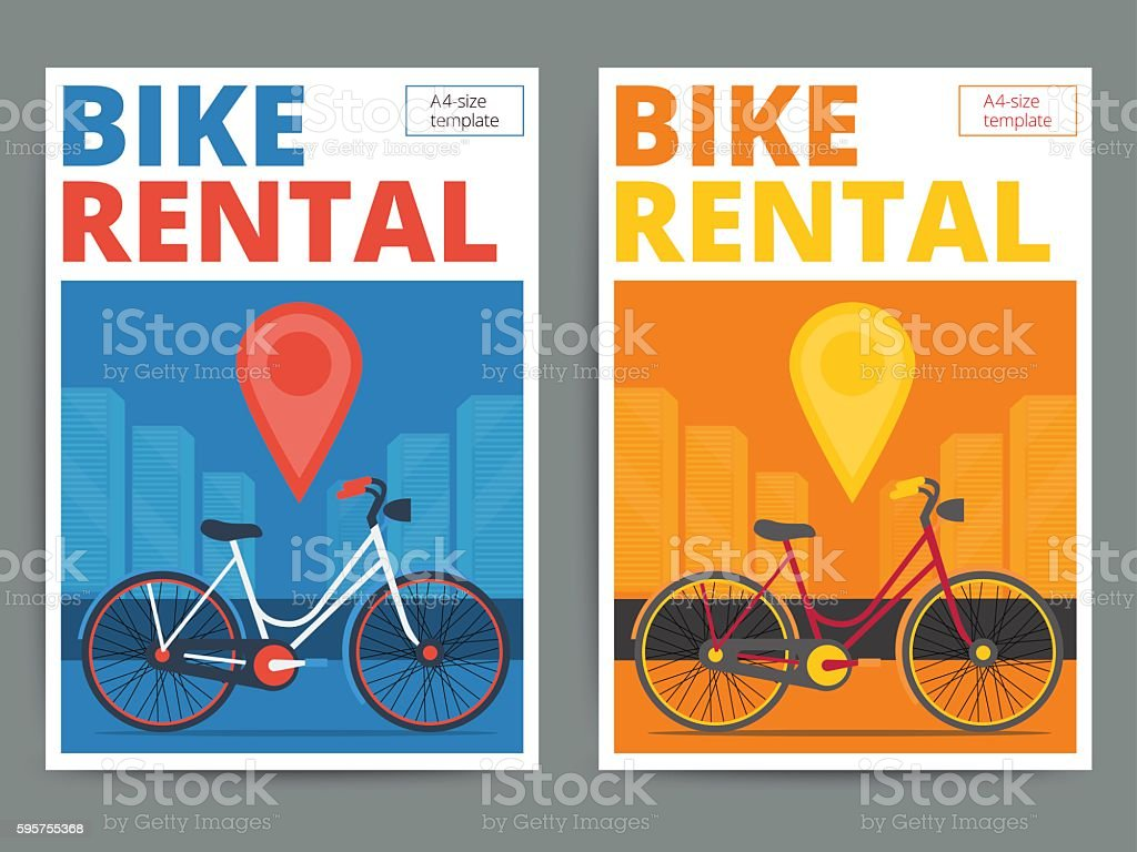 Poster design service - Trendy Bicycle Rental Service Poster Design Modern Vector Bike Royalty Free Stock Vector Art