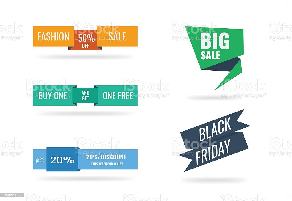 Trendy colors web or print banners and badges. vector art illustration