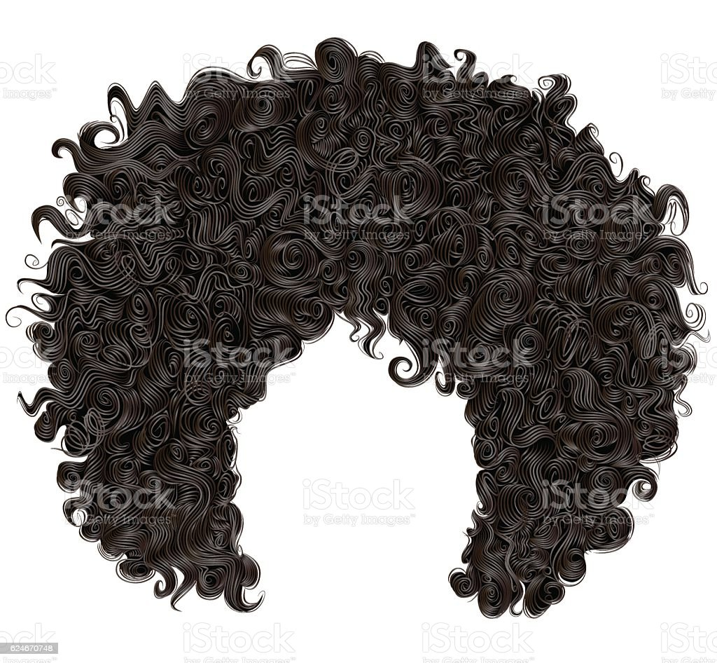 trendy curly  african black  hair  . realistic  3d . fashion beauty style . vector art illustration