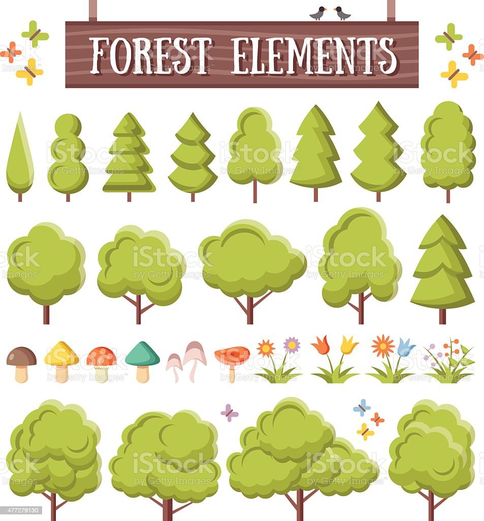 trendy flat forest elements set beautiful trees mushrooms flowers