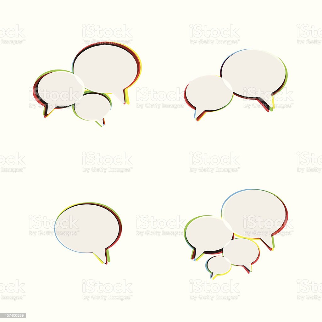 Trendy Flat Icons With Speech Bubbles. Set. Vector royalty-free stock vector art
