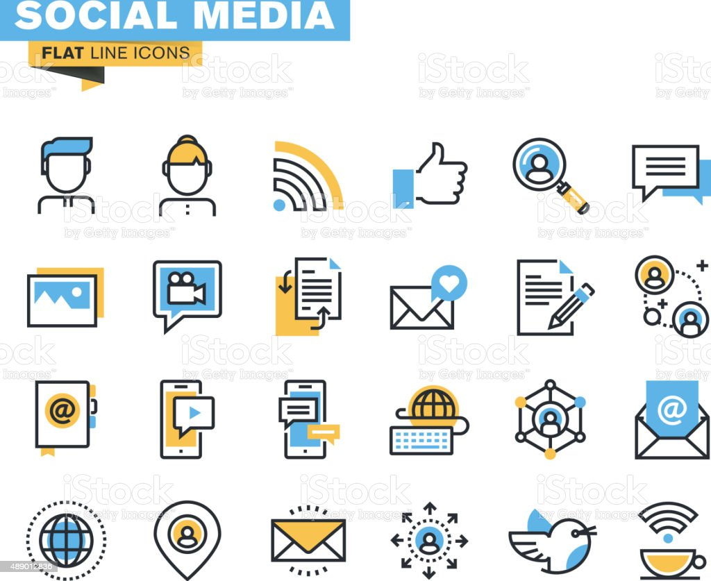 Trendy flat line icon pack for designers and developers vector art illustration