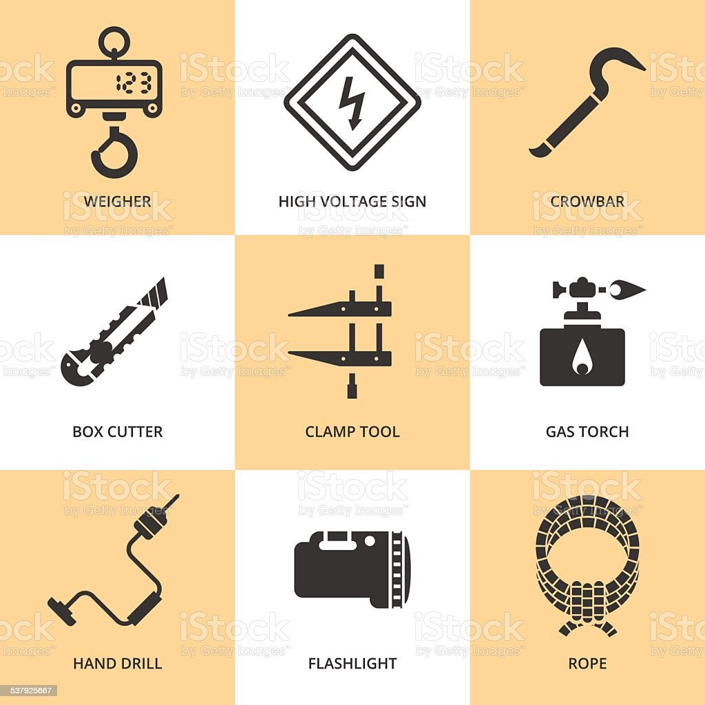 Trendy flat working tools icons black silhouettes vector art illustration