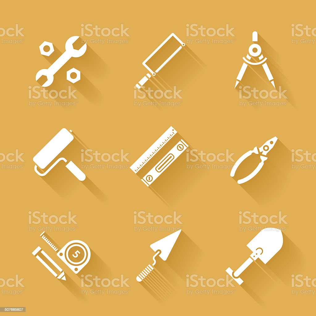 Trendy flat working tools icons. Vector illustration vector art illustration