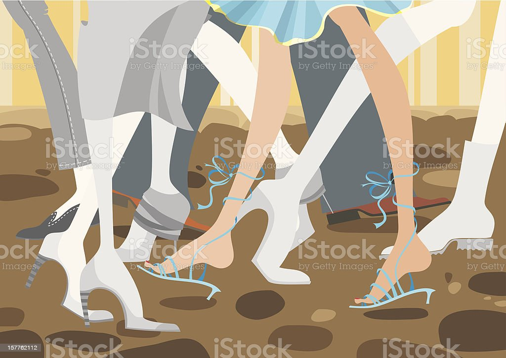 Trendy foot fashion on the pavement royalty-free stock vector art