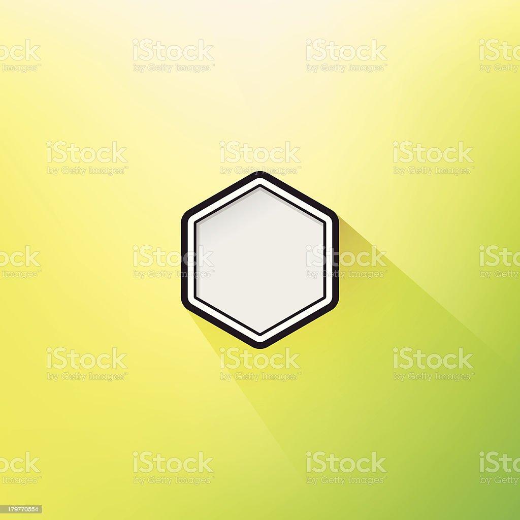 Trendy Geometric Flat Design Hexagon Frame Long Shadow Defocus Background royalty-free stock vector art