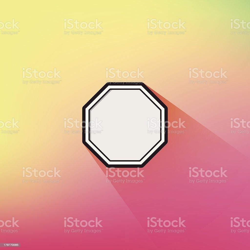 Trendy Geometric Flat Design Octagon Frame Long Shadow Defocus Background royalty-free stock vector art