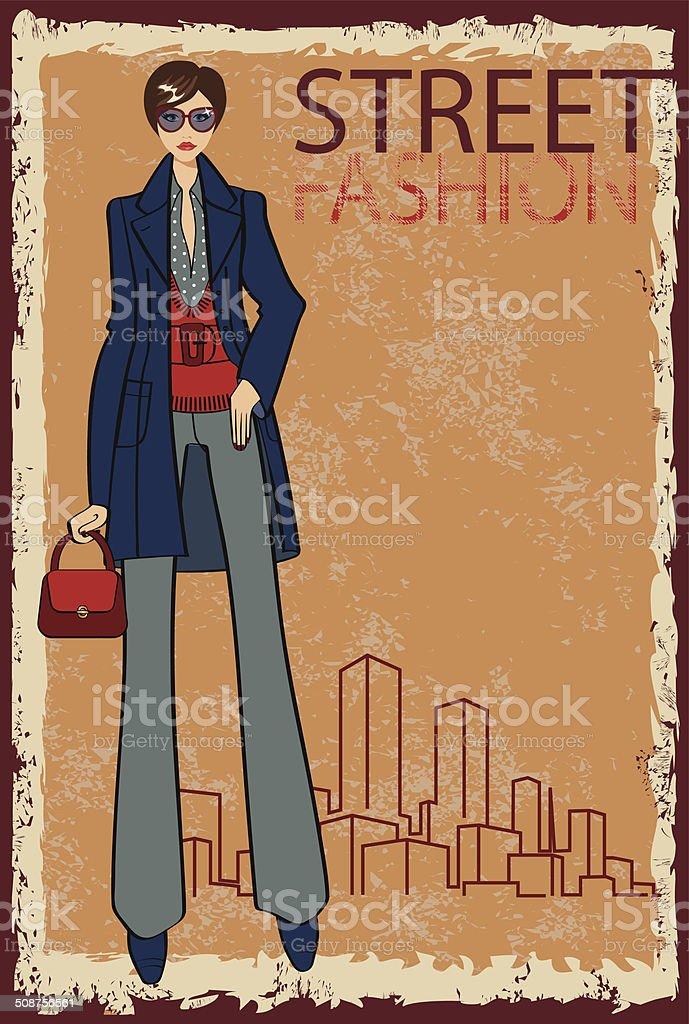 Trendy girl.Fashion Illustration.eps vector art illustration