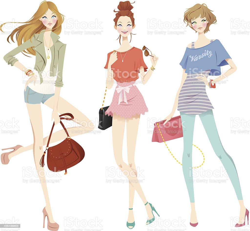 Trendy Girls Set vector art illustration