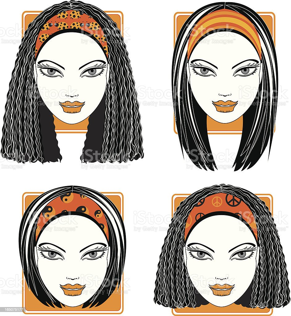 Trendy Hairbands vector art illustration