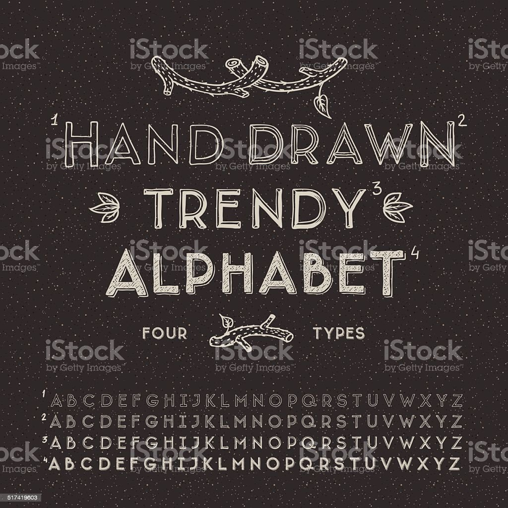 Trendy hand drawing alphabet vector art illustration