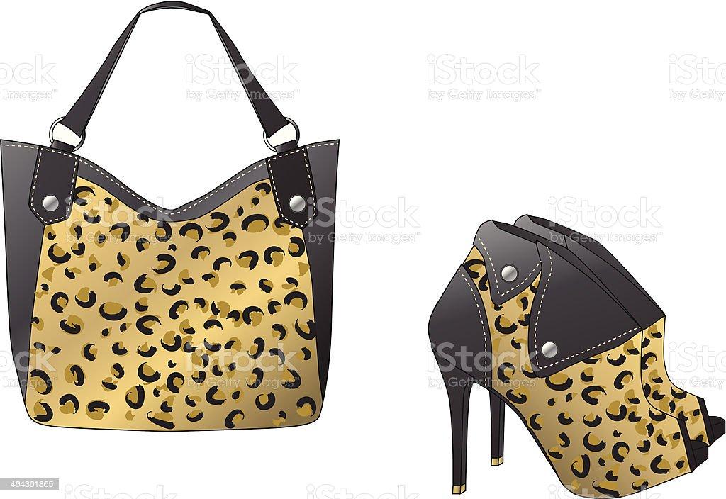 Trendy handbag and boots royalty-free stock vector art