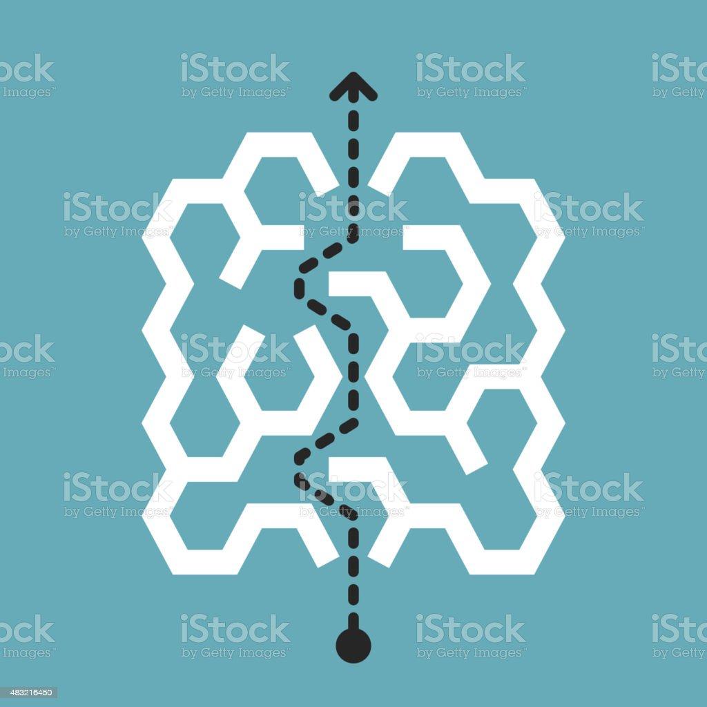 trendy hexagon labyrinth vector art illustration