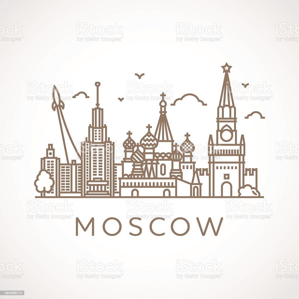 Trendy line-art illustration of Moscow. vector art illustration