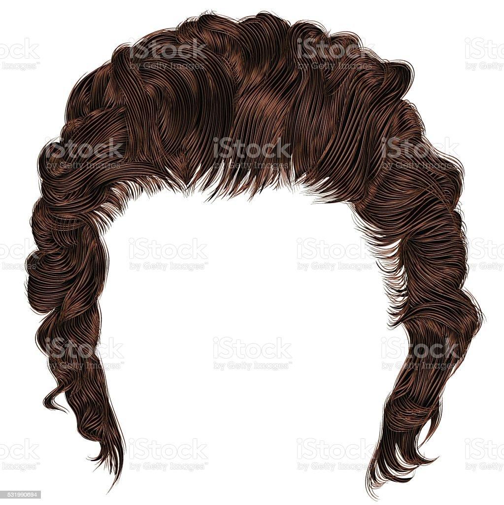 trendy man hairs  fringe . medium length . beauty .realistic  3d . vector art illustration