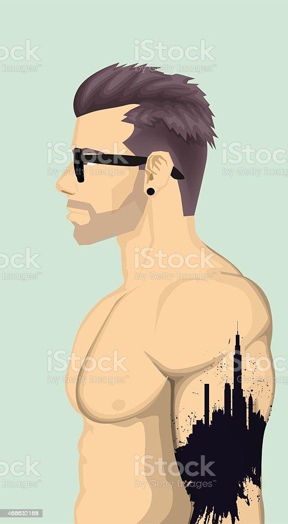 Hommes avec tatouage abstrait branché stock vecteur libres de droits libre de droits